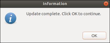 zenity information dialog window.