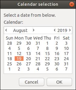Una ventana de calendario zenity con el 19 de agosto de 2019 seleccionado.