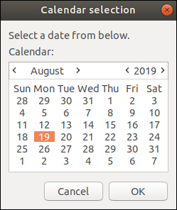 A zenity calendar window with August 19, 2019 selected.