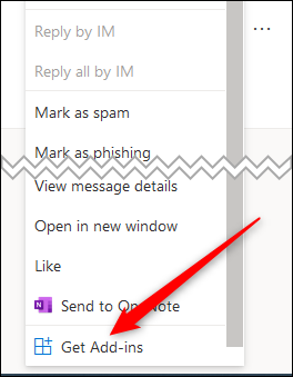 """The context menu with the """"Get Add-ins"""" option highlighted"""