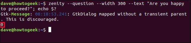 Zero (0) return code in a terminal window.