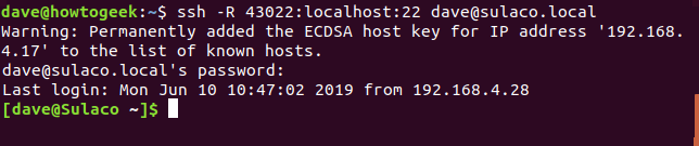 SSH connection details in a terminal window
