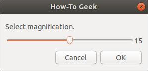 zenity scale dialog window.