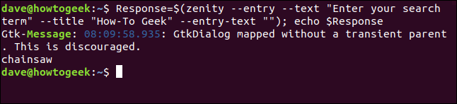 User text entry term in a terminal window.