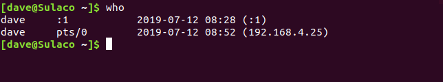 the who command in a terminal window