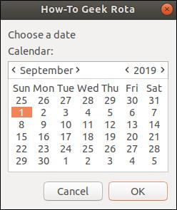 zenity calendar with a start date selected (September 1, 2019).