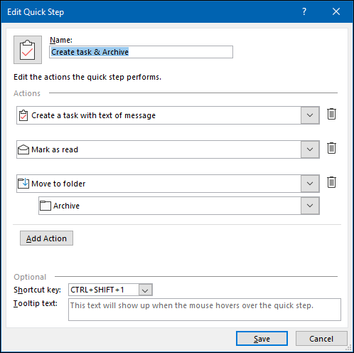 """The Outlook """"Edit Quick Step"""" panel."""