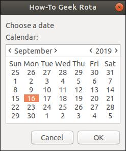 zenity calendar window with September 16, 2019 selected.