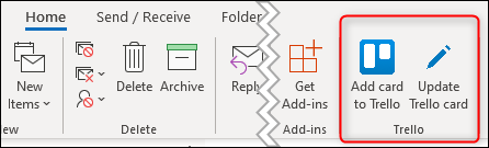 The Trello buttons displayed on the ribbon