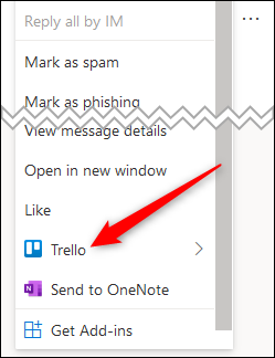 The web client context menu with the Trello option highlighted