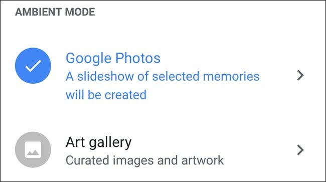 Google Home Ambient Mode settings, with Google Photos selected.