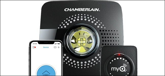 Chamberlain MyQ Garage Hub bridge, door sensor, and phone app.