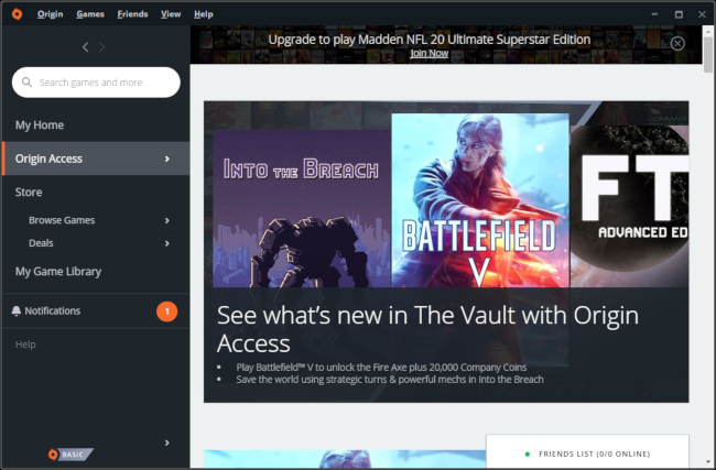 EA's Origin Access Game Vault.