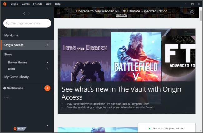 EA's Origin Access Game Vault.