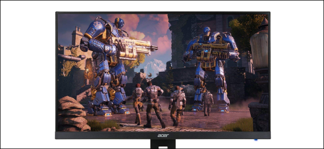 An Acer gaming monitor displaying a video game.