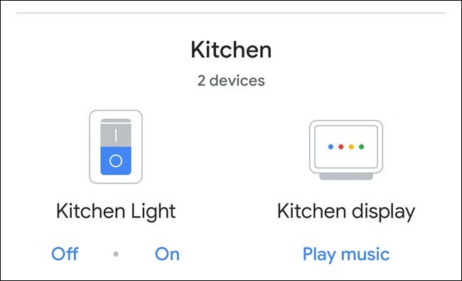 Google home kitchen room group, showing light and nest hub display.
