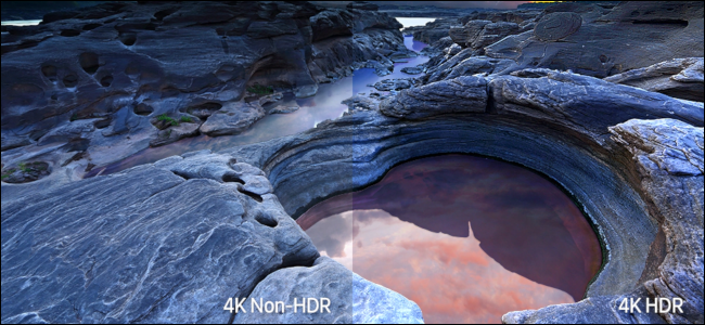 A rocky seaside scene showing the difference in color between 4K non-HDR and 4K HDR.