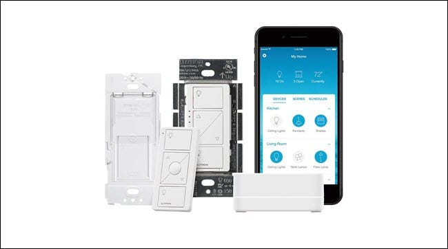 Lutron smart switch, wireless remote, and Lutron App and smart bridge.