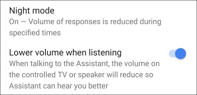 Night Mode option in Google Home app.