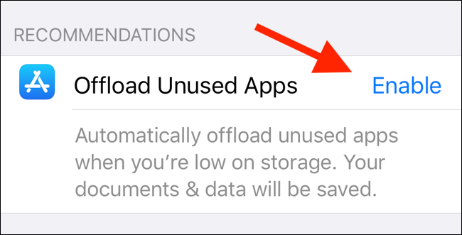 Turn on Automatically Offload Unused Apps Feature
