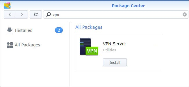 Package Center with the VPN Server install showing.