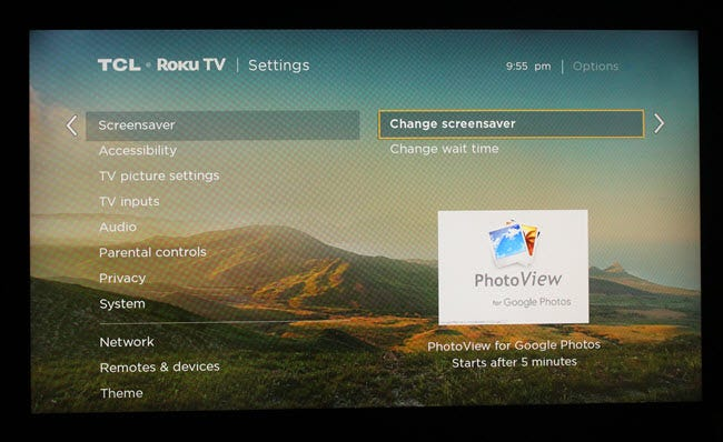 Roku screensaver settings dialog, with PhotoView selected.
