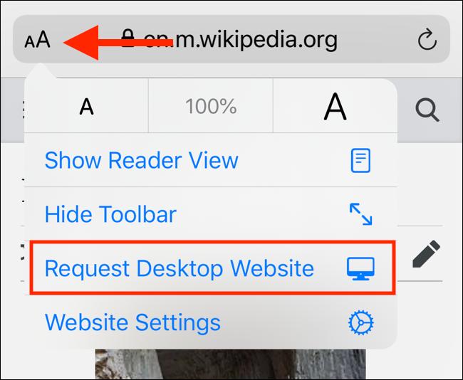 New menu in iOS 13 to request desktop website
