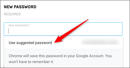 "Click ""Use Suggested Password."""