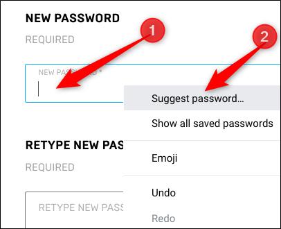 """Haga clic con el botón derecho en el campo de contraseña y luego haga clic en """"Sugerir contraseña""""."""