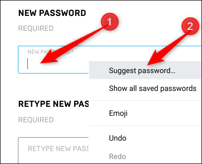 """Right-click in the password field, and then click """"Suggest Password."""""""