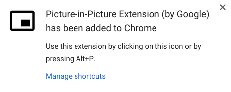 The notification that the extension successfully installed to Chrome.