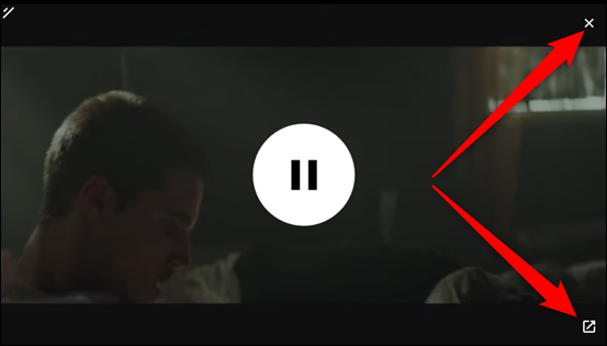 Click either the X to close the video or the icon in the bottom right to return to the tab where it's playing.