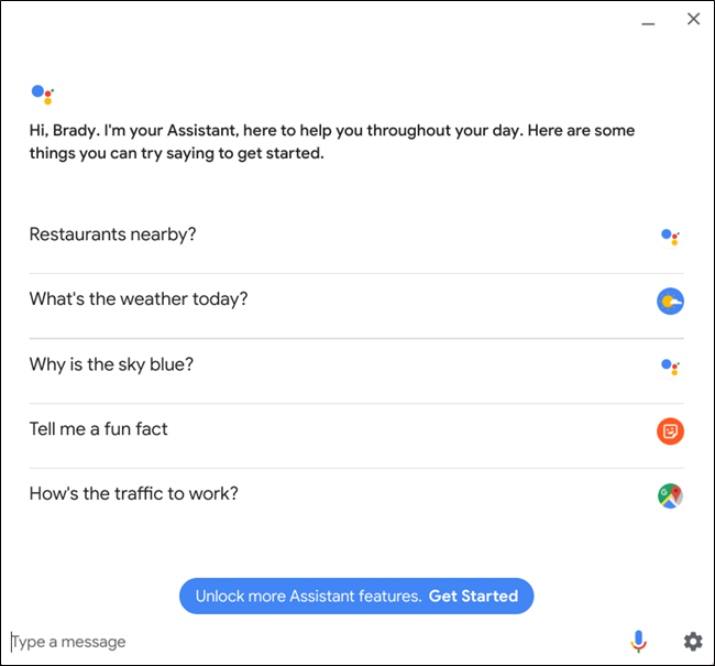 The Google Assistant window.