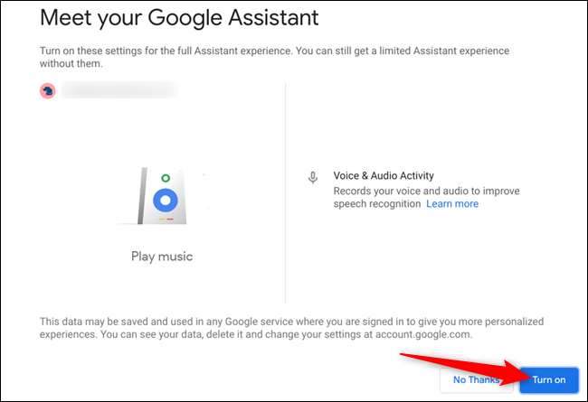 "Click ""Turn On"" to enable the voice activated Assistant."