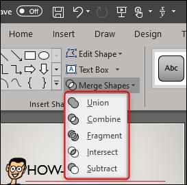 Select merge shape type from dropdown menu