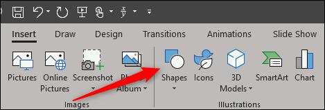 Shape option in illustration group of insert tab