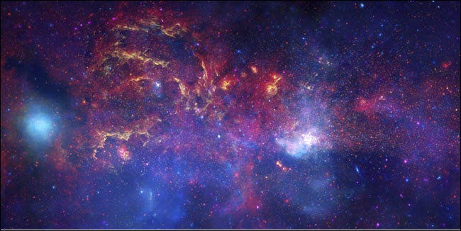 An image of the Milky Way, taken by NASA telescopes