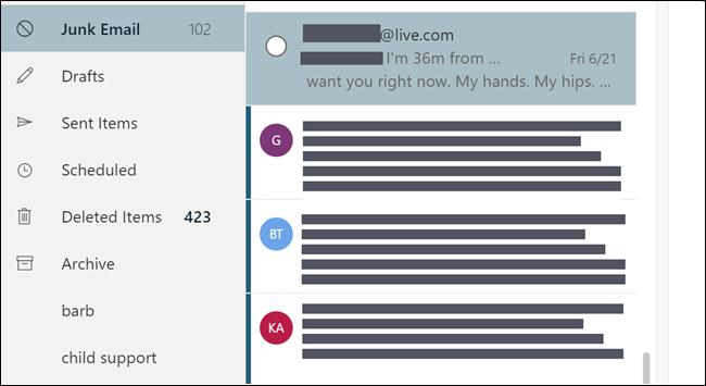 Carpeta Correo electrónico no deseado, que muestra un correo electrónico que parece estar dirigido desde una dirección de correo electrónico personal.