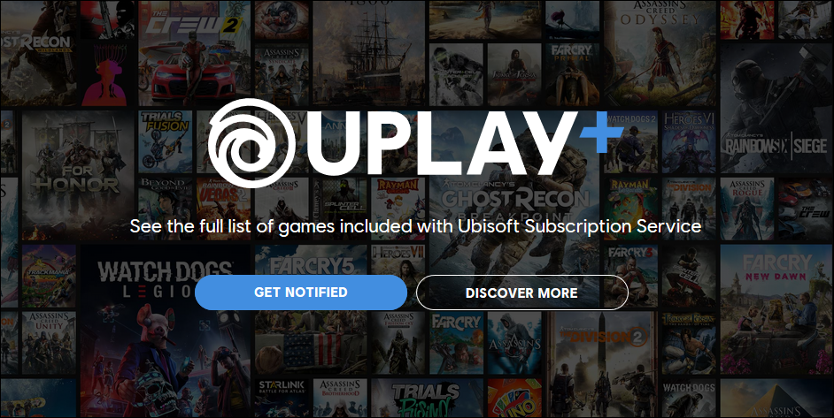 Uplay Plus logo on a background of multiple video game cover images.