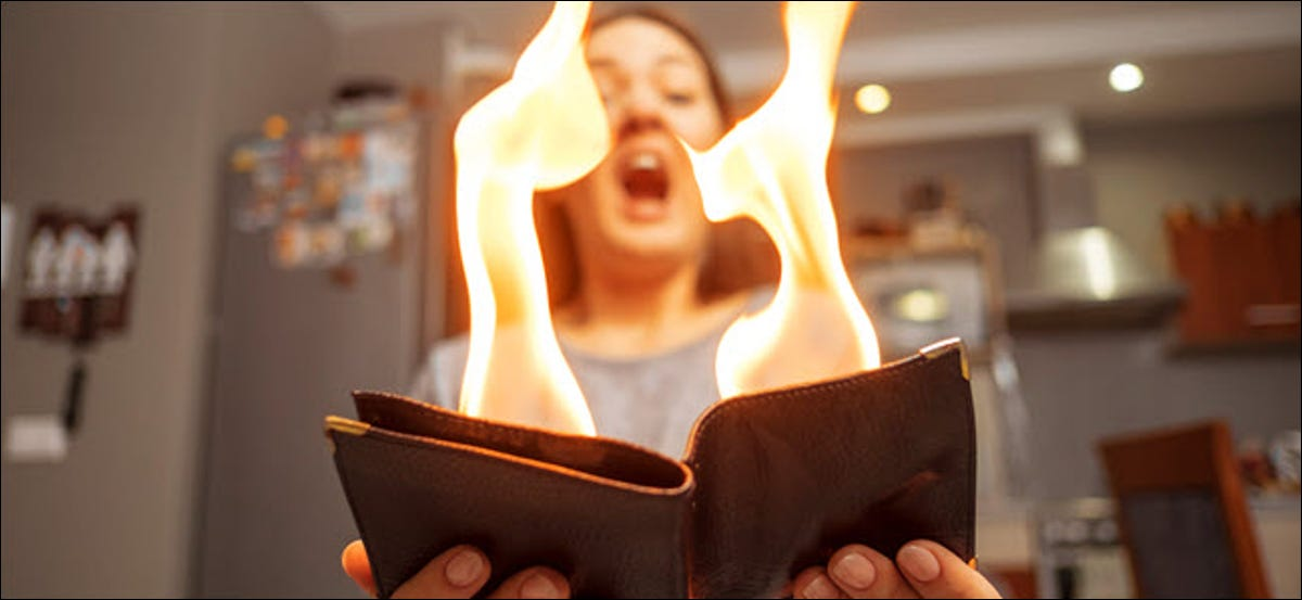 young woman holding a wallet on fire