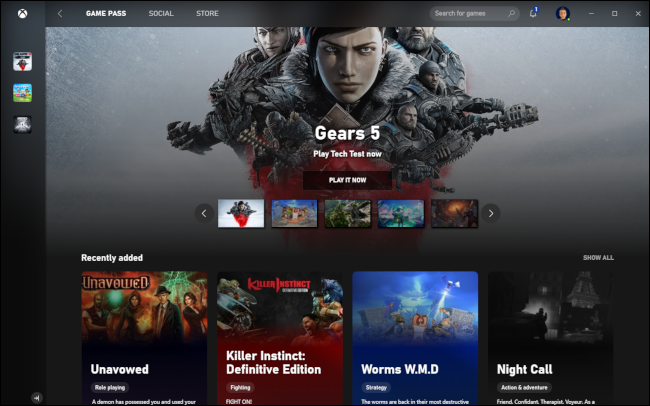 Xbox Game Pass featuring the game Gears 5.