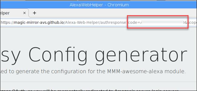 URL showing Alexa device code.