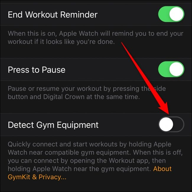Apple iPhone Apple Watch App Workout Menu