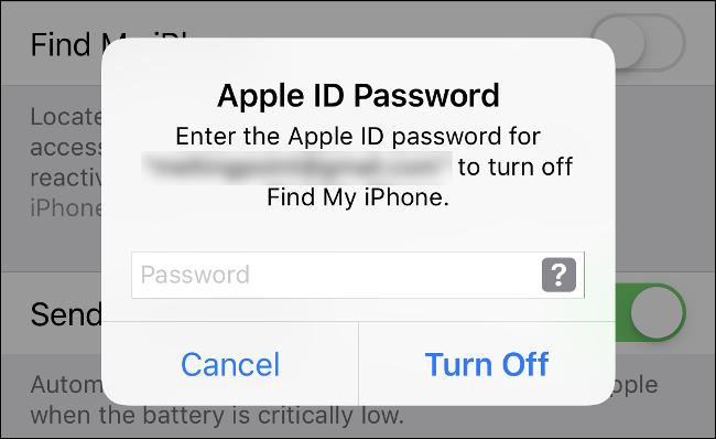 """Escriba la contraseña de su ID de Apple para desactivar """"Buscar mi iPhone"""" y deshabilitar el """"Bloqueo de activación""""."""