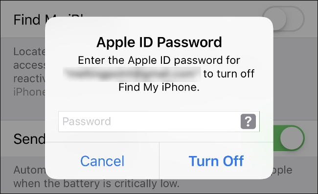 "Type your Apple ID Password to turn off ""Find My iPhone"" and disable ""Activation Lock."""