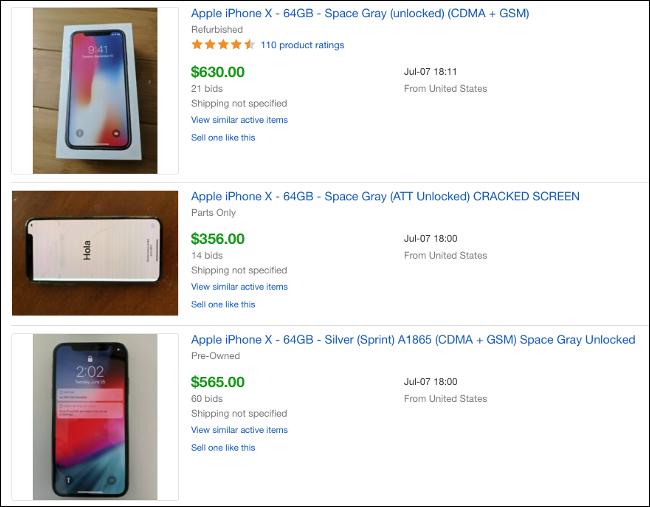 Listados de subastas de eBay de iPhone X vendidos.