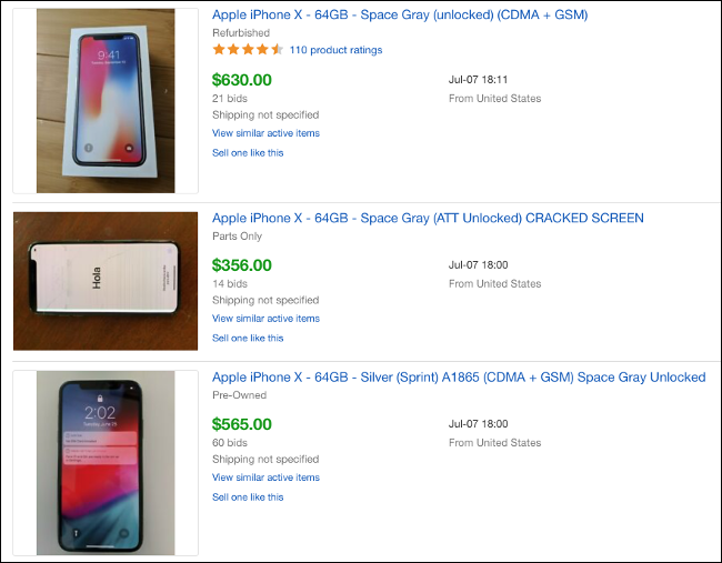 eBay auction listings of sold iPhone X's.