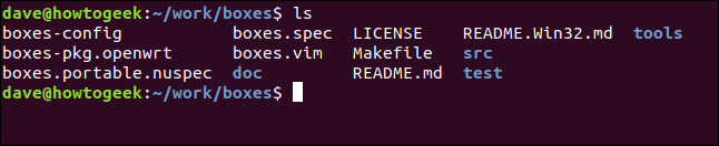 The boxes repository contents in a terminal window.