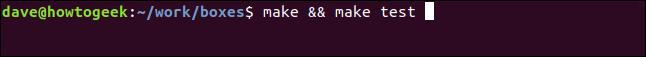 """make && make test"" in a terminal window."