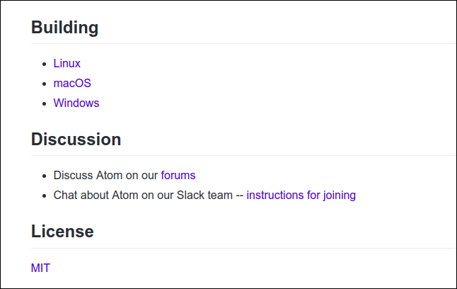 Section of the readme.md file for the atom editor on github.